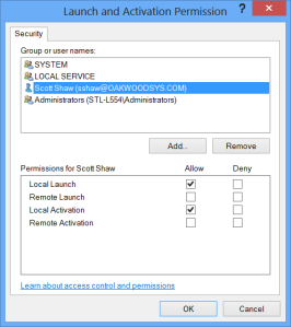 COM security settings